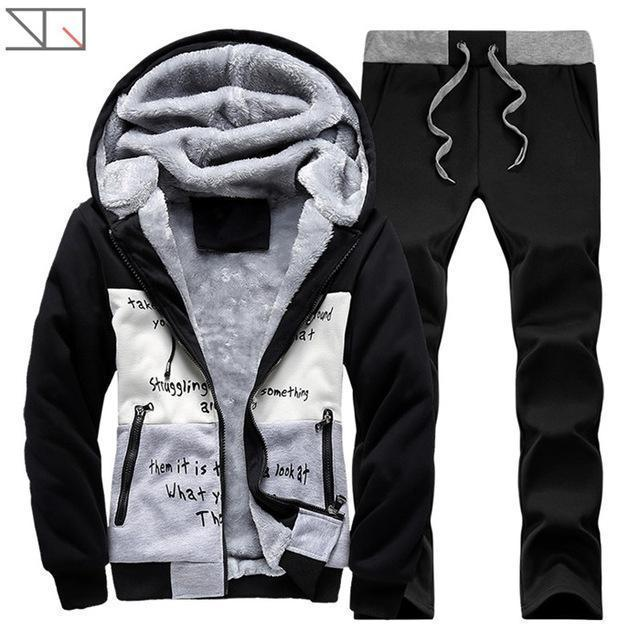 Hooded Tracksuit / Winter Thick Inner Fleece Set-D58 black-S-JadeMoghul Inc.