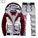 Hooded Tracksuit / Winter Thick Inner Fleece Set-D58 red-S-JadeMoghul Inc.