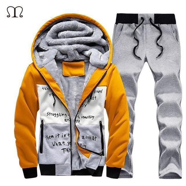 Hooded Tracksuit / Winter Thick Inner Fleece Set-D58 yellow-S-JadeMoghul Inc.