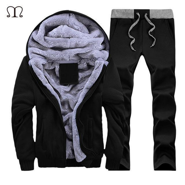 Hooded Tracksuit / Winter Thick Inner Fleece Set-D59 black-S-JadeMoghul Inc.