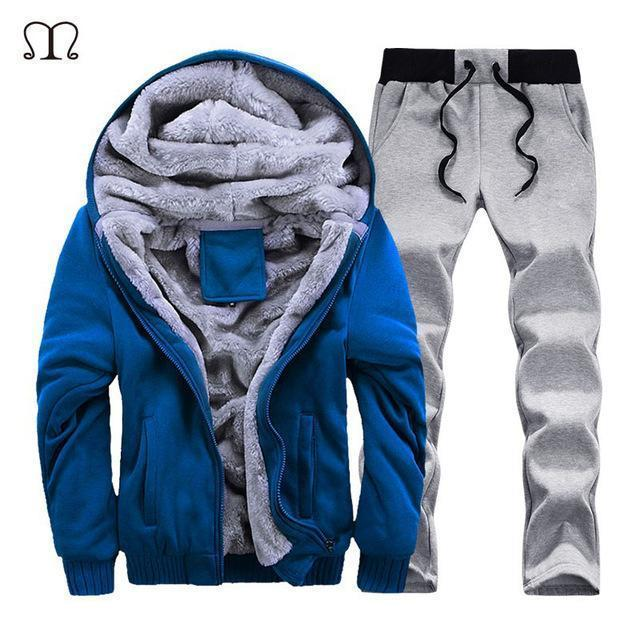 Hooded Tracksuit / Winter Thick Inner Fleece Set-D59 blue-S-JadeMoghul Inc.