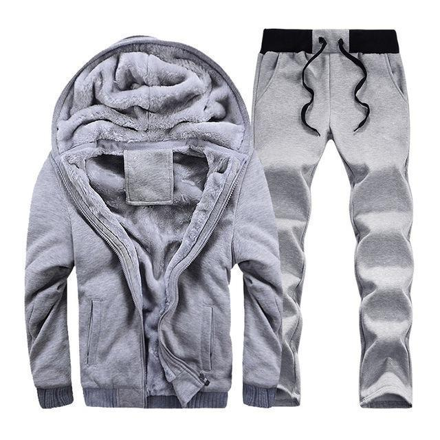 Hooded Tracksuit / Winter Thick Inner Fleece Set-D59 gray-S-JadeMoghul Inc.