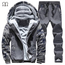 Hooded Tracksuit / Winter Thick Inner Fleece Set-D59 red-S-JadeMoghul Inc.