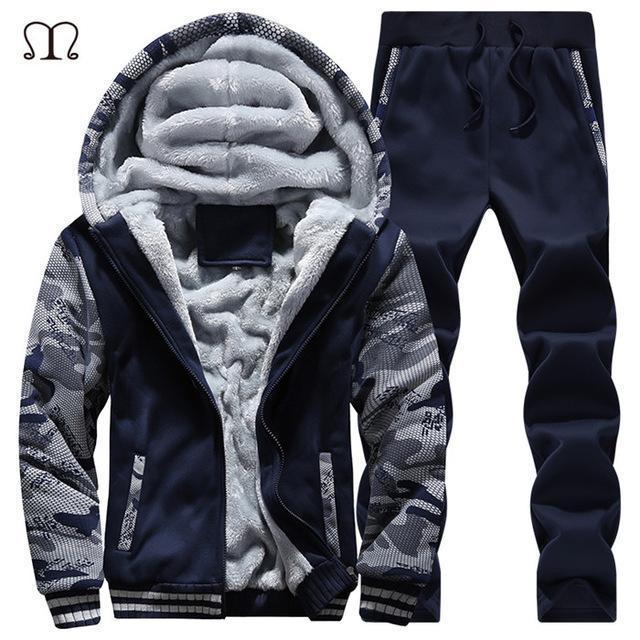 Hooded Tracksuit / Winter Thick Inner Fleece Set-D62 darkblue-S-JadeMoghul Inc.