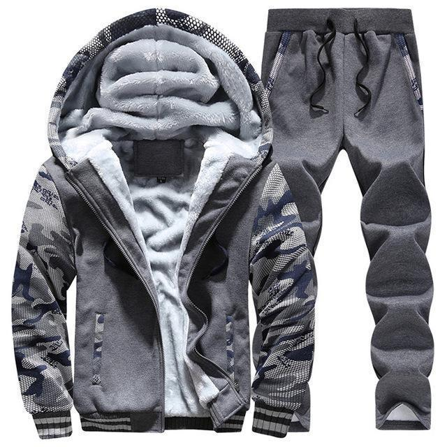 Hooded Tracksuit / Winter Thick Inner Fleece Set-D62 darkgray-S-JadeMoghul Inc.
