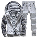 Hooded Tracksuit / Winter Thick Inner Fleece Set-D62 light gray-S-JadeMoghul Inc.