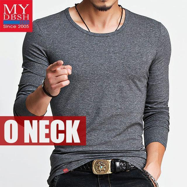 Hot 2017 New Spring Fashion Brand O-Neck Slim Fit Long Sleeve T Shirt Men Trend Casual Mens T-Shirt Korean T Shirts 4XL 5XL A005-O neck Dark Gray-S-JadeMoghul Inc.