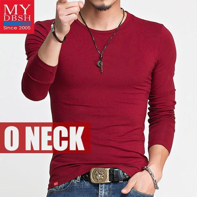 Hot 2017 New Spring Fashion Brand O-Neck Slim Fit Long Sleeve T Shirt Men Trend Casual Mens T-Shirt Korean T Shirts 4XL 5XL A005-O neck Red-S-JadeMoghul Inc.