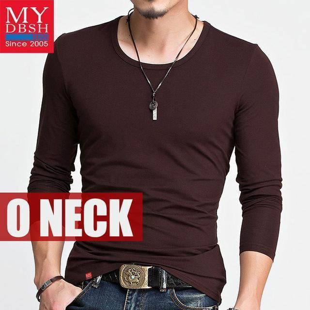 Hot 2017 New Spring Fashion Brand O-Neck Slim Fit Long Sleeve T Shirt Men Trend Casual Mens T-Shirt Korean T Shirts 4XL 5XL A005-O neck White-S-JadeMoghul Inc.