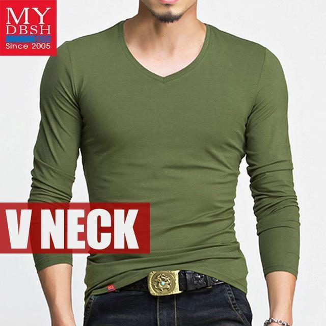 Hot 2017 New Spring Fashion Brand O-Neck Slim Fit Long Sleeve T Shirt Men Trend Casual Mens T-Shirt Korean T Shirts 4XL 5XL A005-V neck Army-S-JadeMoghul Inc.