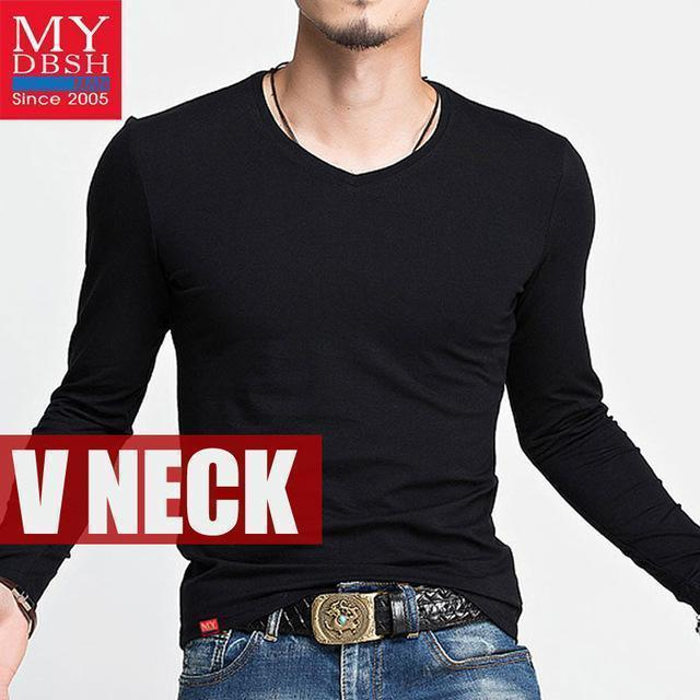 Hot 2017 New Spring Fashion Brand O-Neck Slim Fit Long Sleeve T Shirt Men Trend Casual Mens T-Shirt Korean T Shirts 4XL 5XL A005-V neck Black-S-JadeMoghul Inc.
