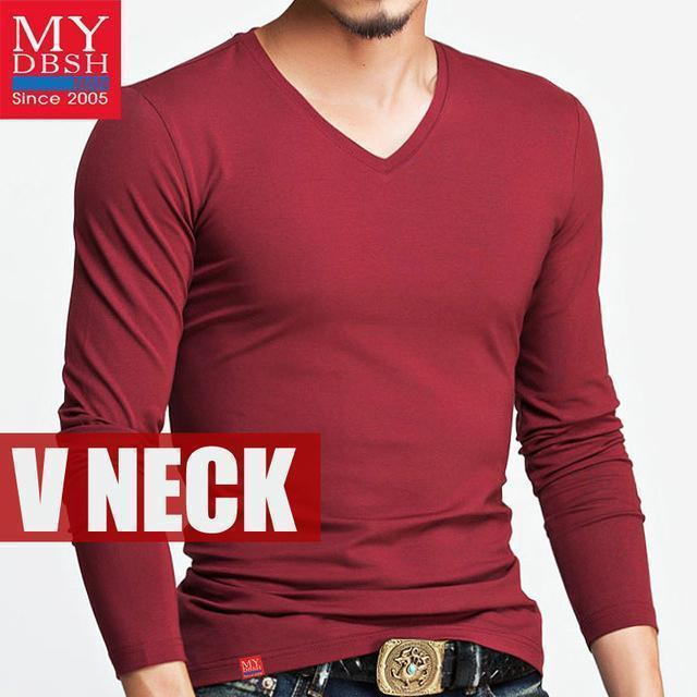Hot 2017 New Spring Fashion Brand O-Neck Slim Fit Long Sleeve T Shirt Men Trend Casual Mens T-Shirt Korean T Shirts 4XL 5XL A005-V neck Red-S-JadeMoghul Inc.