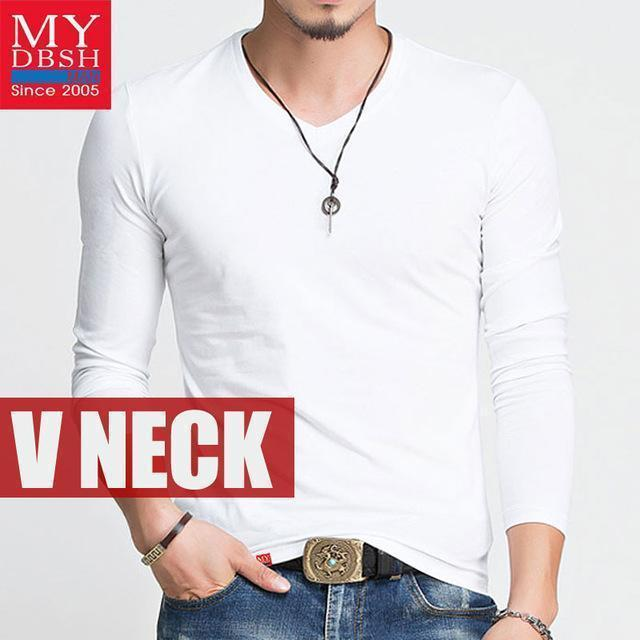 Hot 2017 New Spring Fashion Brand O-Neck Slim Fit Long Sleeve T Shirt Men Trend Casual Mens T-Shirt Korean T Shirts 4XL 5XL A005-V neck White-S-JadeMoghul Inc.