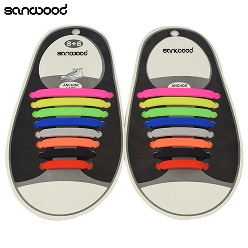 Hot Fashion New 16Pc/Set Women Men Athletic Shoelaces Elastic Silicone All Sneakers Fit Strap-Black-JadeMoghul Inc.