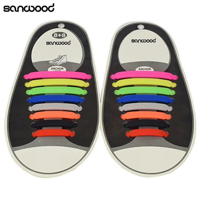Hot Fashion New 16Pc/Set Women Men Athletic Shoelaces Elastic Silicone All Sneakers Fit Strap-Multicolor-JadeMoghul Inc.