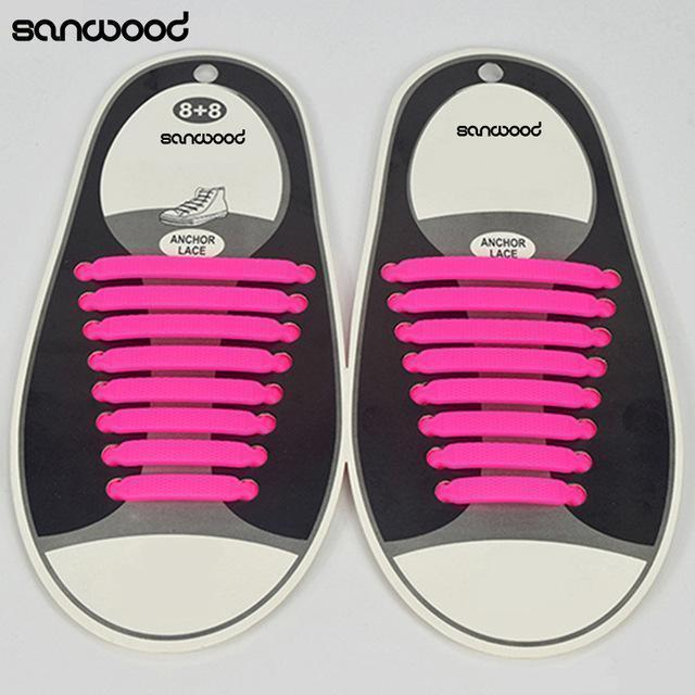 Hot Fashion New 16Pc/Set Women Men Athletic Shoelaces Elastic Silicone All Sneakers Fit Strap-Pink-JadeMoghul Inc.