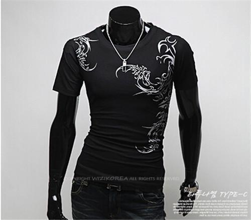 Hot New 2015 Fashion Brand T Shirts for Men.Novelty Dragon Printing Tatoo Male O Neck T Shirts Men 's Brands. TX70-T Shirt-An-E-Black 1-XXL-JadeMoghul Inc.
