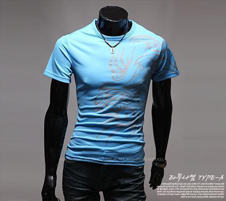 Hot New 2015 Fashion Brand T Shirts for Men.Novelty Dragon Printing Tatoo Male O Neck T Shirts Men 's Brands. TX70-T Shirt-An-E-Blue-XXL-JadeMoghul Inc.