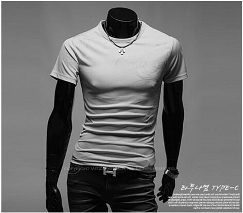Hot New 2015 Fashion Brand T Shirts for Men.Novelty Dragon Printing Tatoo Male O Neck T Shirts Men 's Brands. TX70-T Shirt-An-E-Grey 1-XXL-JadeMoghul Inc.