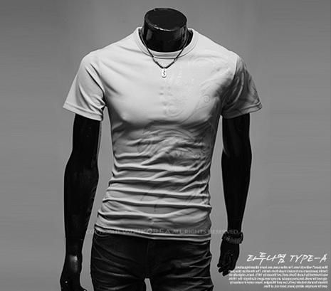 Hot New 2015 Fashion Brand T Shirts for Men.Novelty Dragon Printing Tatoo Male O Neck T Shirts Men 's Brands. TX70-T Shirt-An-E-Grey-XXL-JadeMoghul Inc.