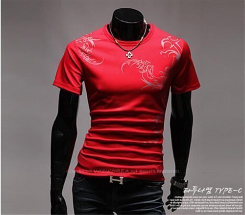 Hot New 2015 Fashion Brand T Shirts for Men.Novelty Dragon Printing Tatoo Male O Neck T Shirts Men 's Brands. TX70-T Shirt-An-E-Red 1-XXL-JadeMoghul Inc.