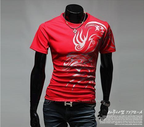 Hot New 2015 Fashion Brand T Shirts for Men.Novelty Dragon Printing Tatoo Male O Neck T Shirts Men 's Brands. TX70-T Shirt-An-E-Red-XXL-JadeMoghul Inc.