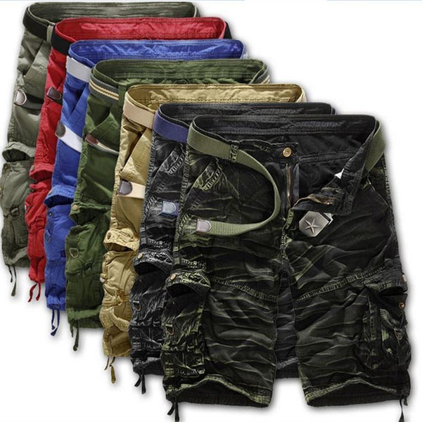 Hot Summer Style Shorts Men Casual Loose Knee Length Cargo Shorts Plus Size Multi-pocket Military Shorts Men 8 Colors-B1-29-JadeMoghul Inc.
