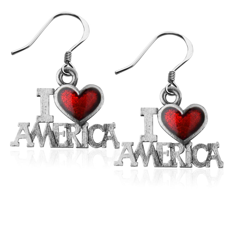 I Love America Charm Earrings in Silver-Charm-JadeMoghul Inc.
