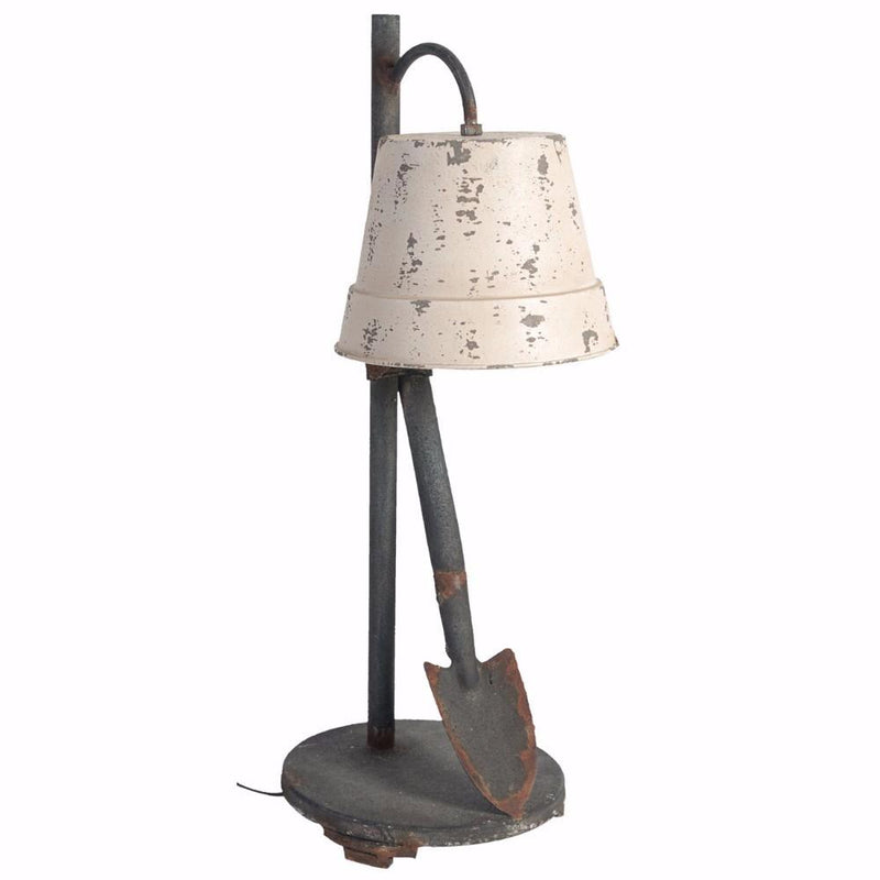 Ideal and Distinctive Distressed Table Lamp-Table Lamps-Ivory and Gray-metal glass-JadeMoghul Inc.