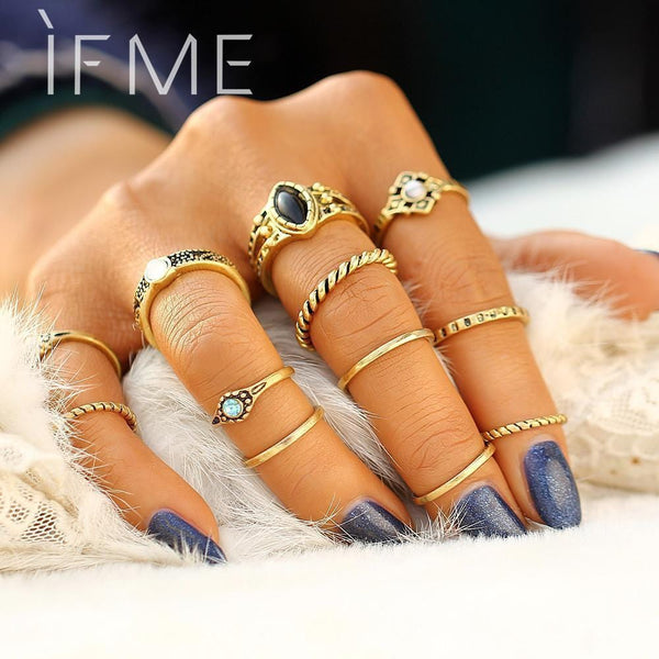 IF ME 12 PCS/Set Retro Vintage Gold Silver Color Knuckle Midi Rings Set For Women Female Bohemian Boho Rings Jewelry Accessories-Resizable-RJDY12028Silver-JadeMoghul Inc.