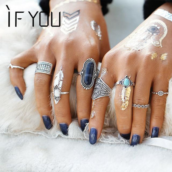 IF YOU Trendy Vintage Fashion Gothic Antique Lucky Stone Finger Midi Ring Set for Women Punk Boho Knuckle Rings For Women Lady-RJLA13221-JadeMoghul Inc.