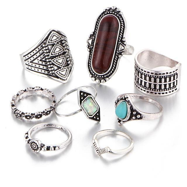 IF YOU Trendy Vintage Fashion Gothic Antique Lucky Stone Finger Midi Ring Set for Women Punk Boho Knuckle Rings For Women Lady-RJLA13228-JadeMoghul Inc.
