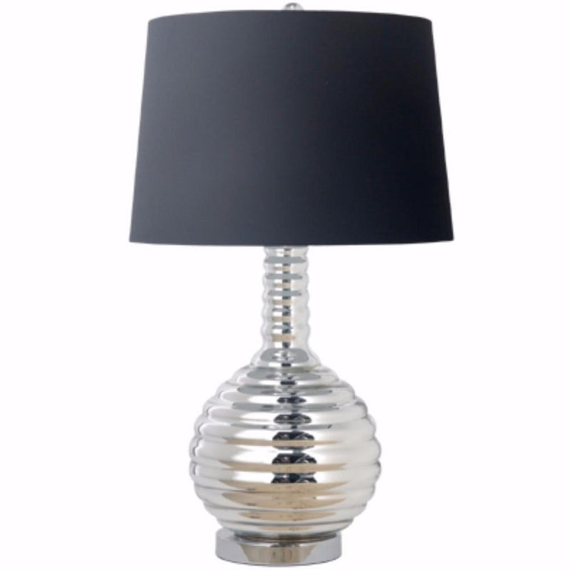 Impeccably Groomed Table Lamp, Black and Silver-Table Lamps-Black and silver-poly and glass lamp-JadeMoghul Inc.
