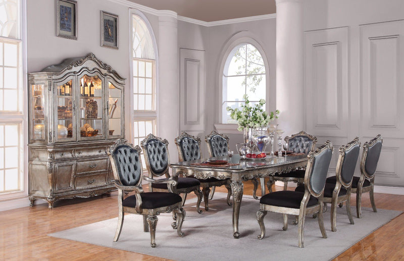 Imperial Dining Table, Antique Platinum-Dining Tables-Antique Platinum-Poplar Wood Birch Veneer-JadeMoghul Inc.