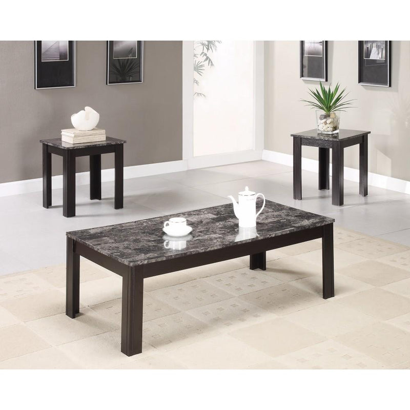 Impressive 3 piece occasional table set with marble top, black-Coffee Table Sets-BLACK-SOLIDWOOD-JadeMoghul Inc.