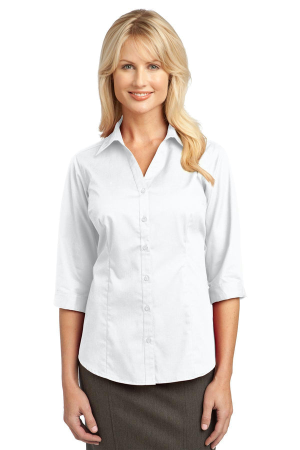 IMPROVED Port Authority Ladies 3/4-Sleeve Blouse. L6290-Woven Shirts-White-4XL-JadeMoghul Inc.
