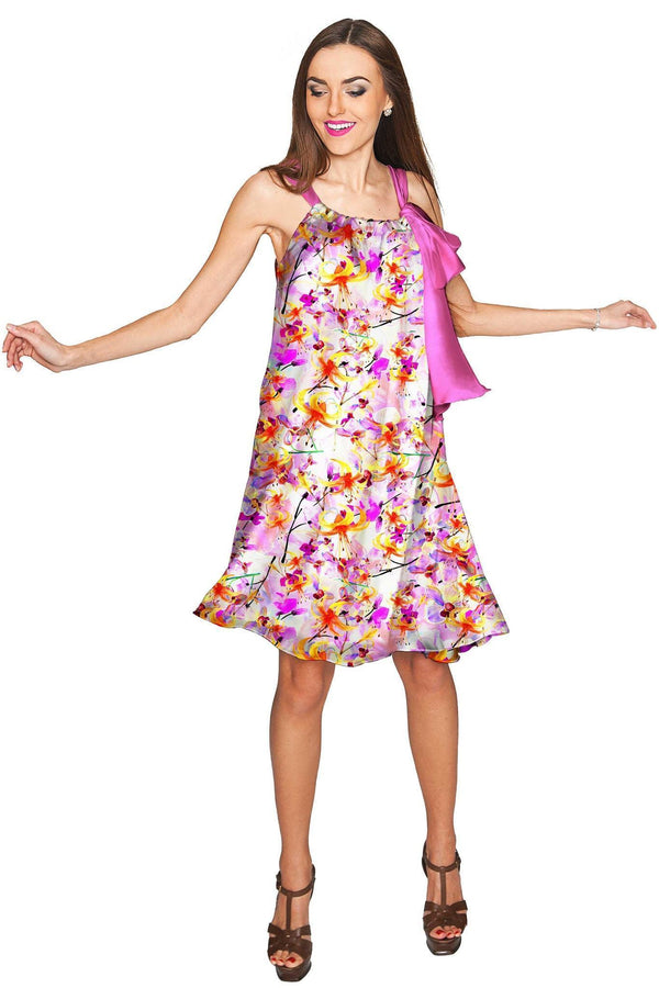 In Love Melody Pink Chiffon Floral Print Dress - Women-In Love-XS-Pink/Purple-JadeMoghul Inc.
