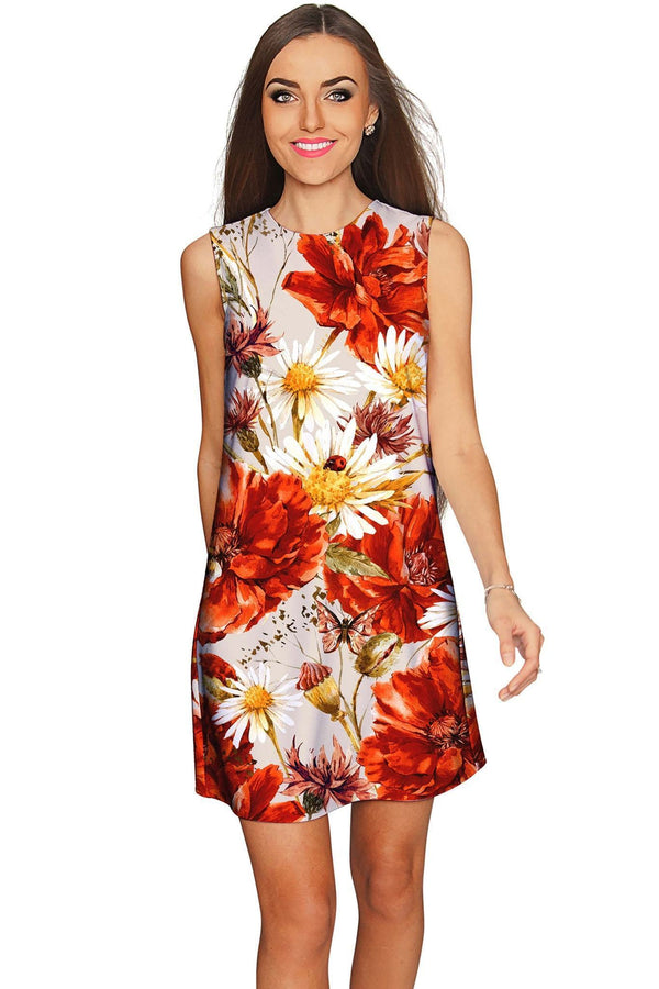 In The Wheat Field Adele Designer Floral Shift Dress - Women-In The Wheat Field-XS-Grey/Red/White-JadeMoghul Inc.