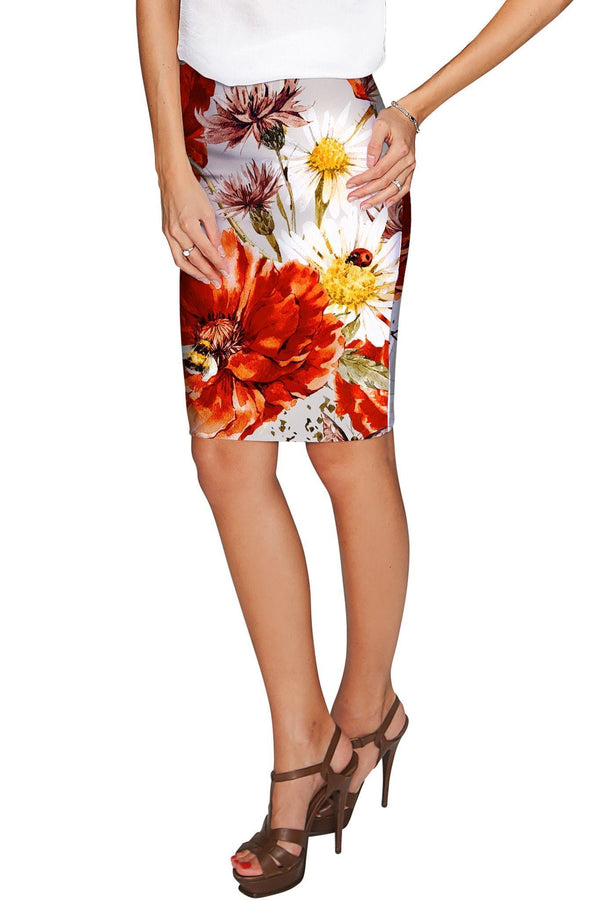In The Wheat Field Carol Grey Floral Pencil Fit Skirt - Women-In The Wheat Field-XS-Grey/Red/White-JadeMoghul Inc.