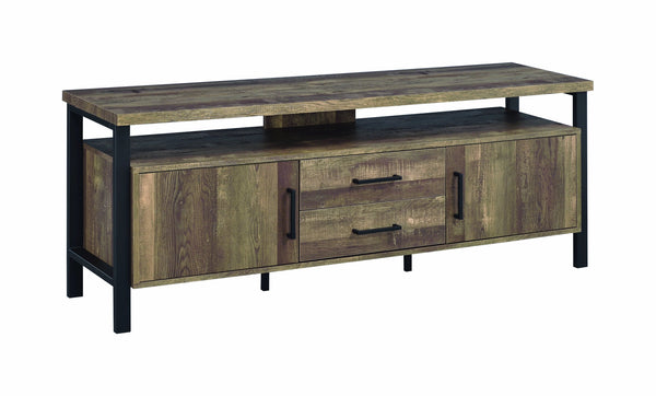 Industrial Design 58 Inch Wooden TV Console with Metal Legs and Open Shelf Storage, Brown-Media Storage Cabinets & Racks-Brown-Metal, MDF, Particle board-JadeMoghul Inc.