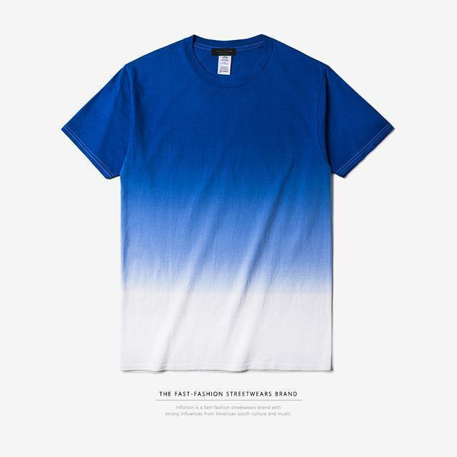 INFLATION Tee Men's Funny Hip Hop Dip Dye Cotton O Neck Short Sleeve Tee-blue white-L-JadeMoghul Inc.