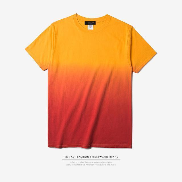 INFLATION Tee Men's Funny Hip Hop Dip Dye Cotton O Neck Short Sleeve Tee-gold orange-L-JadeMoghul Inc.