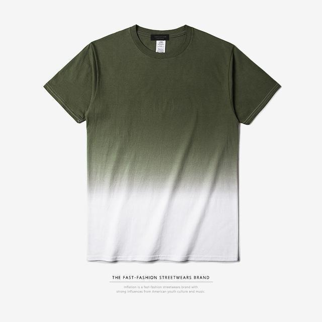 INFLATION Tee Men's Funny Hip Hop Dip Dye Cotton O Neck Short Sleeve Tee-green white-XXXL-JadeMoghul Inc.