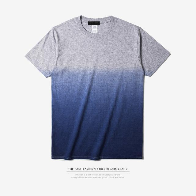 INFLATION Tee Men's Funny Hip Hop Dip Dye Cotton O Neck Short Sleeve Tee-grey blue-L-JadeMoghul Inc.