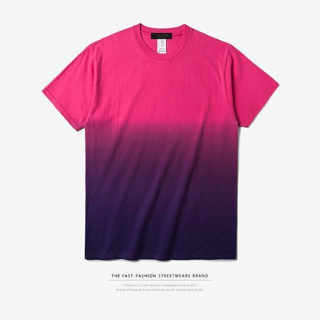 INFLATION Tee Men's Funny Hip Hop Dip Dye Cotton O Neck Short Sleeve Tee-red purple-L-JadeMoghul Inc.
