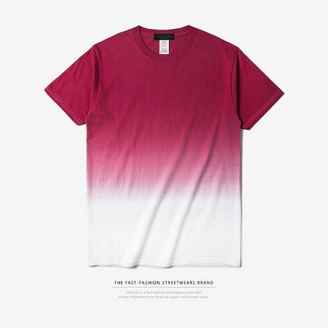 INFLATION Tee Men's Funny Hip Hop Dip Dye Cotton O Neck Short Sleeve Tee-red white-L-JadeMoghul Inc.