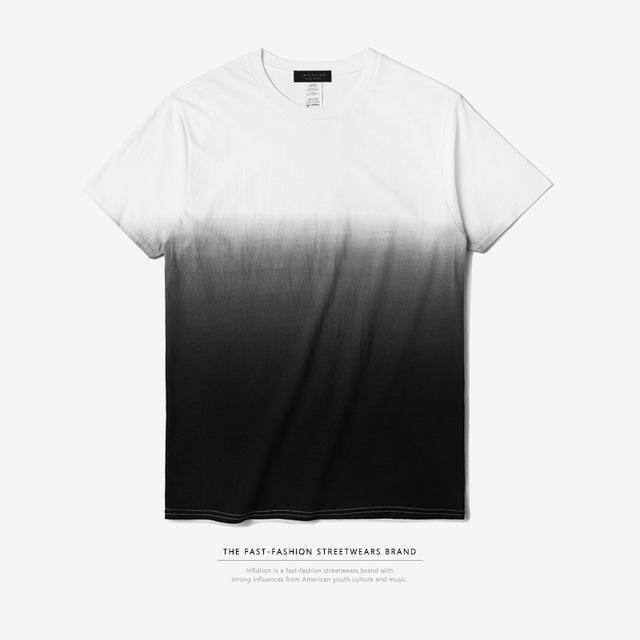 INFLATION Tee Men's Funny Hip Hop Dip Dye Cotton O Neck Short Sleeve Tee-white black-L-JadeMoghul Inc.