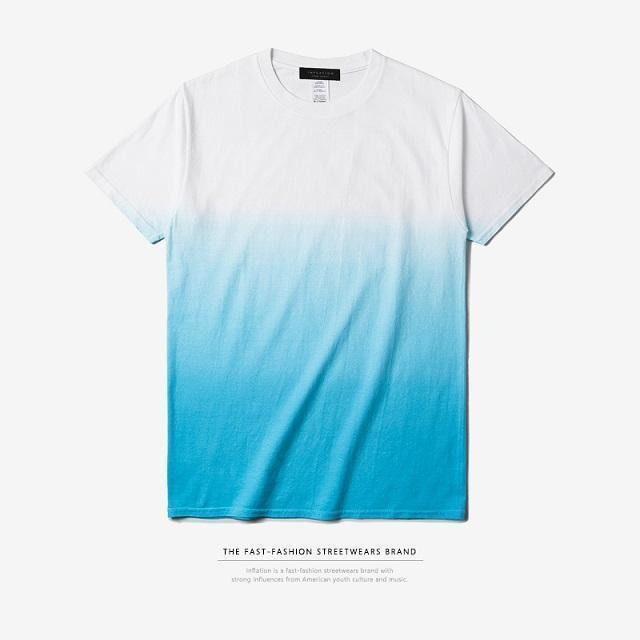 INFLATION Tee Men's Funny Hip Hop Dip Dye Cotton O Neck Short Sleeve Tee-white blue-L-JadeMoghul Inc.