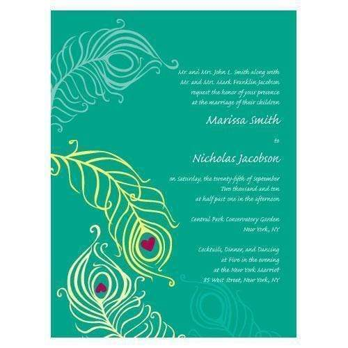 Invitations & Stationery Essentials Perfect Peacock Invitation (Pack of 1) Weddingstar