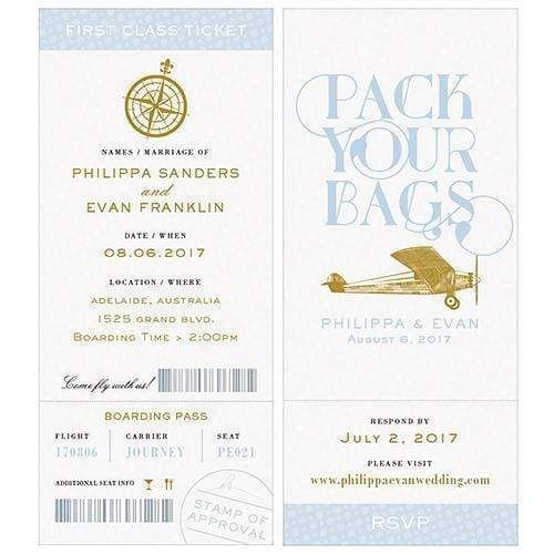 Invitations & Stationery Essentials Vintage Travel Boarding Pass Style Invitation With RSVP Daiquiri Green (Pack of 1) JM Weddings